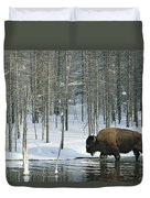 A Bison Stands In A Cold  Stream Duvet Cover