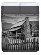 A Black And White Photograph Of An Appalachian Mountain Cabin Duvet Cover
