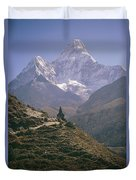 A Blue Sky And Mountain Range Duvet Cover