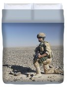 A British Army Soldier On A Foot Patrol Duvet Cover