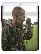 A British Army Soldier Radios Duvet Cover by Andrew Chittock