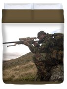 A British Soldier Armed With A Sniper Duvet Cover