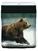 A Brown Bear Rushing Through Water Duvet Cover
