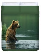 A Brown Bear Standing In Water Hunting Duvet Cover