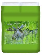 A Bull Moose Wading His Pond Duvet Cover