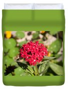 A Bunch Of Small Red Flowers Duvet Cover