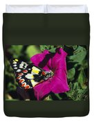 A Butterfly Lands On A Pink Flower Duvet Cover