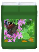 A Butterfly On The Pink Flower 2 Duvet Cover