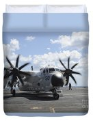 A C-2a Greyhound Taxis On The Flight Duvet Cover