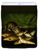 A Cat With Trout Perch And Carp On A Ledge Duvet Cover by Stephen Elmer