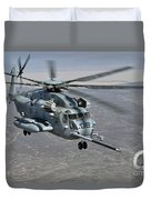 A Ch-53e Super Stallion Approaches Duvet Cover