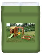 A Childs Playing Equipment In A Green Location Duvet Cover