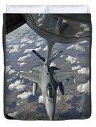 A Chilean Air Force F-16 Refuels Duvet Cover