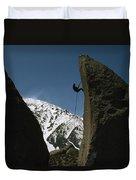 A Climber Rappels Off Grandma Boulder Duvet Cover