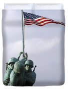 A Close Up Of The Iwo Jima Bronze Duvet Cover by Michael Wood
