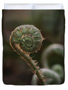 A Close View Of A Fiddlehead Fern Frond Duvet Cover