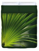 A Close View Of A Palm Frond Duvet Cover