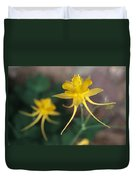 A Close View Of A Yellow Columbine Duvet Cover