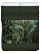 A Close View Of An Asian Elephant Duvet Cover