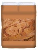 A Close View Sandstone Rocks Of Petra Duvet Cover