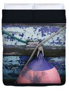A Colorful Buoy Hangs From Ropes Duvet Cover