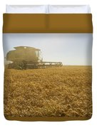 A Combine Harvester Works A Field Duvet Cover