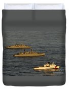 A Convoy Of Naval Ships Move Duvet Cover