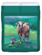 A Cow And Her Calf Duvet Cover