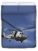 A Crew Chief Looks Out The Side Door Duvet Cover by Michael Wood