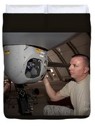 A Crew Chief Works On Mq-1 Predators Duvet Cover