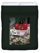 A Cup Of Strawberries Duvet Cover