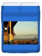 Playland Rye Beach Pier Duvet Cover