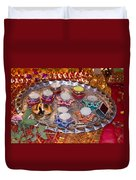 A Decorated Hindu Prayer Thaali With Wax Candles Oil Lamps Duvet Cover