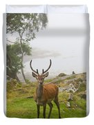 A Deer Stands In A Foggy Meadow By The Duvet Cover