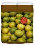 A Display Of Guavas In An Open Air Duvet Cover