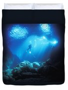 A Diver Hovers Inside The Archway As Duvet Cover