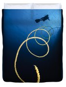 A Diver Swims Above A Whip Coral Duvet Cover