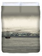 A Double-masted Sailboat Floats Near An Duvet Cover