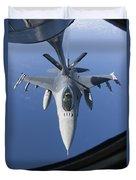 A Dutch F-16am Conducts In-flight Duvet Cover