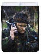 A Dutch Patrol Commander Communicates Duvet Cover