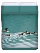 A Family Of Merganser Ducks Swim Duvet Cover