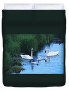 A Family Of Trumpeter Swans Swims Duvet Cover