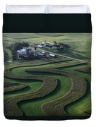 A Farm With Curved And Twisting Fields Duvet Cover