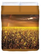A Field Of Canola With A Rainbow Duvet Cover