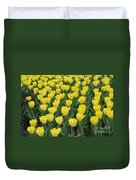 A Field Of Yellow Tulips In Spring Duvet Cover