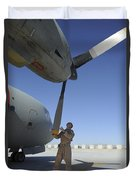 A Flight Engineer Performs A Pre-flight Duvet Cover