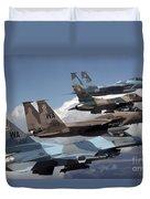 A Flight Of Aggressor F-15 And F-16 Duvet Cover