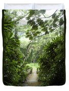 A Flooded Path At Manoa Falls Duvet Cover