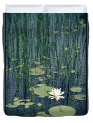 A Flowering Water Lily In Black Duvet Cover