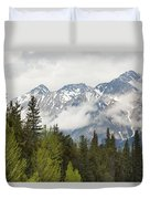 A Forest And The Rocky Mountains Duvet Cover